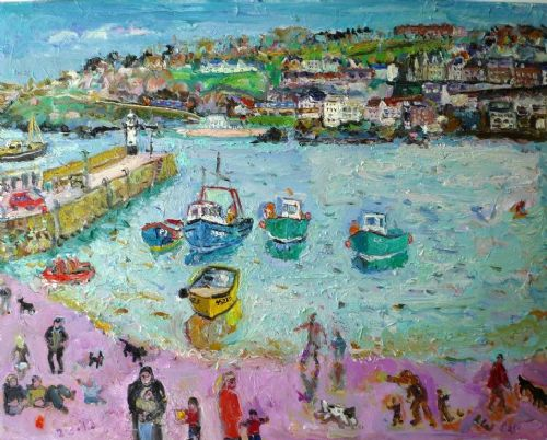 Linda Weir St Ives Harbour 2nd March 2010 oil painting